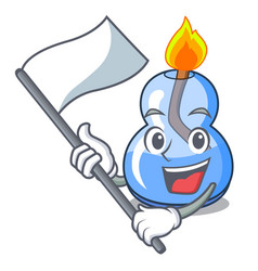 With flag alcohol burner mascot cartoon vector