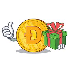 with gift dodgecoin character cartoon style vector image