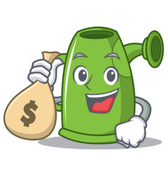 With money bag watering can character cartoon vector