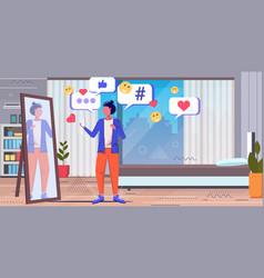 Woman using online mobile app social media network vector