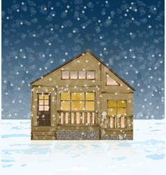 wood house facade in winter snowing vector image