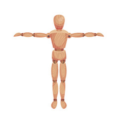 Wooden man standing with his hands apart front vector