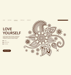 yoga center landing page floral ornament vector image