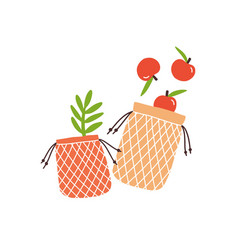 zero waste durable and reusable bags for grocery vector image