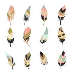 Boho style feather set vector image vector image