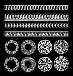 celtic borders patterns and rings set vector image