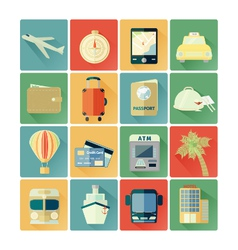 flat icons travel vector image
