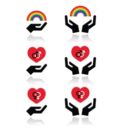 Rainbow gay and lesbian symbols in heart with vector image vector image