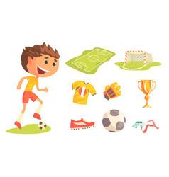 boy soccer football player kids future dream vector image