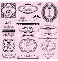 Collection of wedding calligraphic frames and vector image