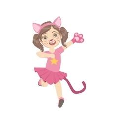 Girl Wearing Cat Animal Costume vector image