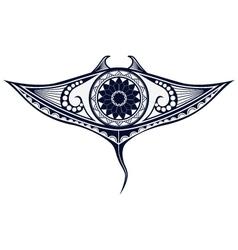 Maori style tattoo pattern in shape of manta ray vector image