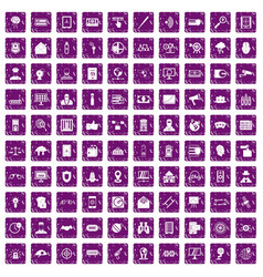 100 security icons set grunge purple vector image vector image