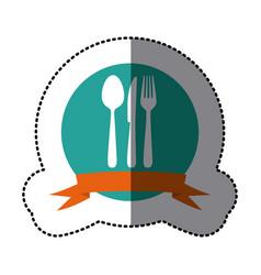 emblem cutlery tools icon vector image