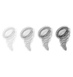 set of hand drawn scribbled hurricane symbols vector image