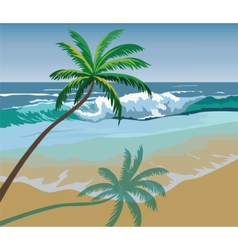 Summer seaside shore with palm trees vector image vector image