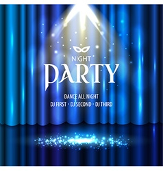 Theatrical background with a blue curtain and a vector image