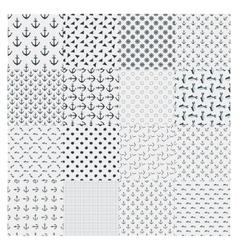 big set seamless marine pattern vector image vector image