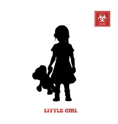 black silhouette of little girl vector image vector image