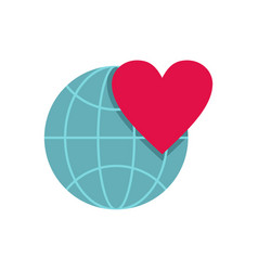 earth world globe with heart icon flat style vector image