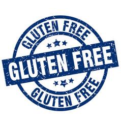 Gluten free blue round grunge stamp vector