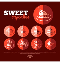 Sweet cupcakes Flat icon set vector image vector image