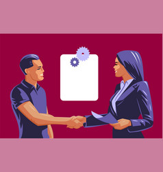 a man and a woman do a handshake vector image