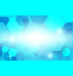 abstract blue technology digital hi tech hexagons vector image