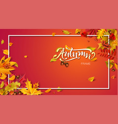 autumn frame composition with fallen leaves vector image