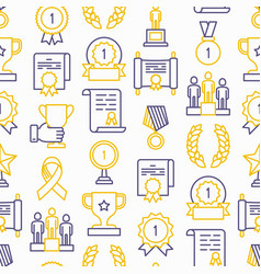 awards seamless pattern with thin line icons vector image