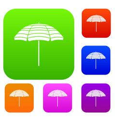 beach umbrella set collection vector image