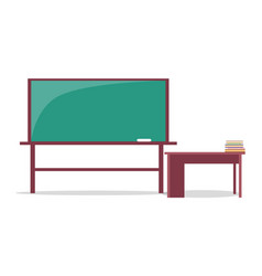 blackboard with piece of chalk and teachers table vector image