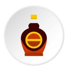 Bottle of maple syrup icon circle vector