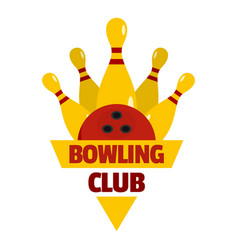 Bowling competition logo flat style vector