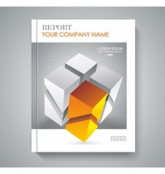 brochure template design with 3d cubes vector image