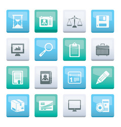 business and office icons over color background vector image