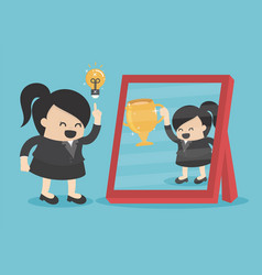 Businesswomen have good ideas see reflection from vector