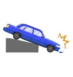 Car accident damage and automobile dangerous crash vector