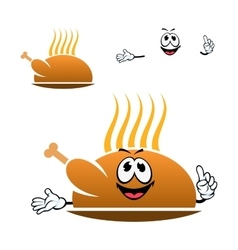 Cartoon roasted chicken leg on dish vector