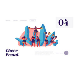 Cheerleaders team in uniform make pyramid on vector