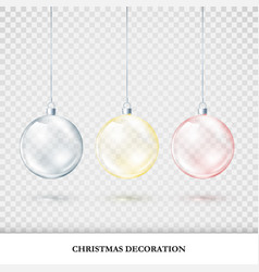 christmas decorations colorful set red blue vector image