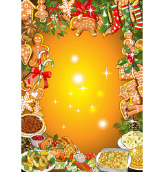 Christmas dinner invitation or greeting card vector