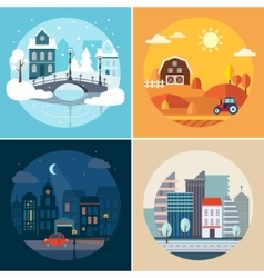 City and Country Landscapes vector