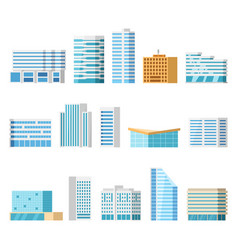 City buildings isolated cartoon set vector