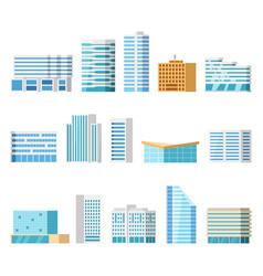 city buildings isolated cartoon set vector image