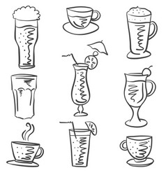Collection stock drink various doodles vector