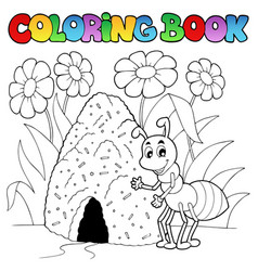 coloring book ant near anthill vector image