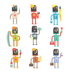 Cute cartoon robots in various professions set of vector