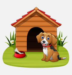 Cute dog sitting in front of kennel vector