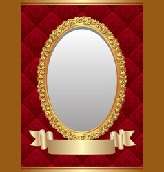 Decorative background with golden frame and vector